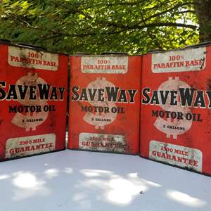 Lot # 65 Save Way Motor Oil Cans