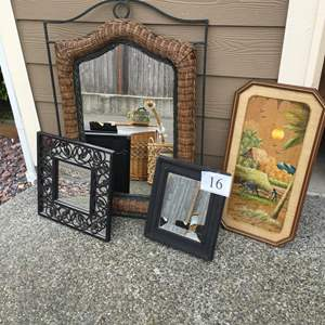 Lot # 16 - Wicker Boho Mirror and More