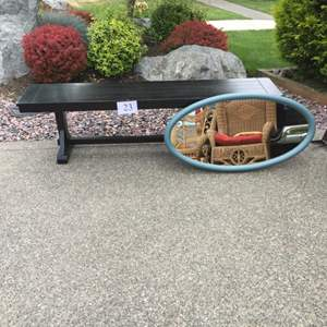 Lot # 23 - Wood Bench and Mirror