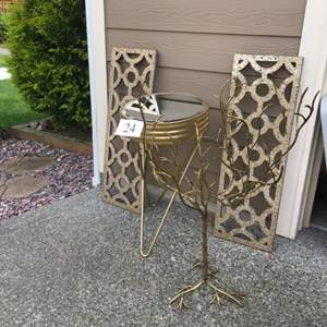 Lot # 24 - Gold Mirrored Accent Table and More