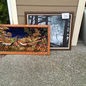Lot # 25 - Pheasant Tapestry (Italy) and Wolf Art