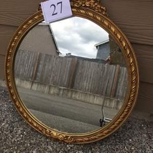 Lot # 27 - Antique Wooden Round Mirror