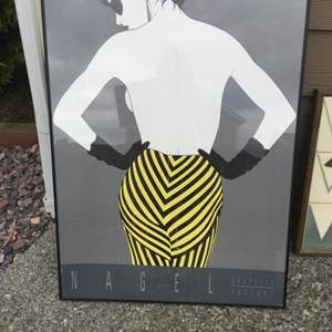 """Lot # 31 -Iconic  Nagel Poster and 1980's Tiled """"Lady In Black"""""""