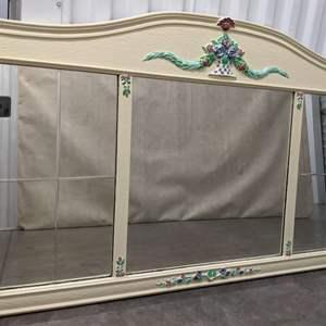 Lot # 23 - Vintage Entryway Beveled-Mirrors w/Handpainted Flowers