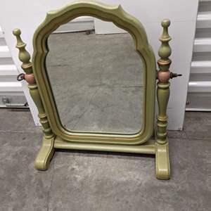 Lot # 25 - Vintage Green Wood Tabletop Dressing Mirror