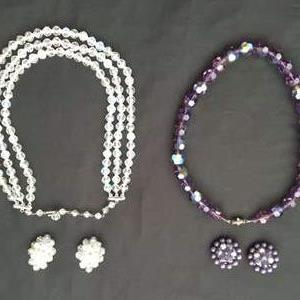 Lot # 85 - Two Vintage Crystal Necklace/Clip-On Earring Sets
