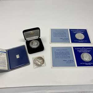 Lot # 13 - Two George Washington Silver Proofs, Princess Diana $20 Silver Coin, Alaska Pipeline Silver Troy Ounce, Expo 86 Ingot
