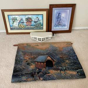 """Auction Thumbnail for: Lot # 23 - Thomas Kinkade Double-Sided Electronic Wall Hanging, Two Framed Pieces of Artwork, """"Homeco"""" Shelf"""