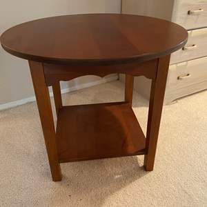 """Auction Thumbnail for: Lot # 217 - Well Built Solid Wood Round Table - (24""""t x 28"""" dia.)"""
