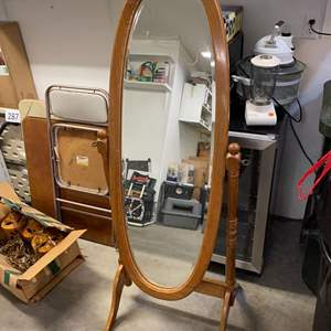 Auction Thumbnail for: Lot # 319 - Wood Cheval Mirror