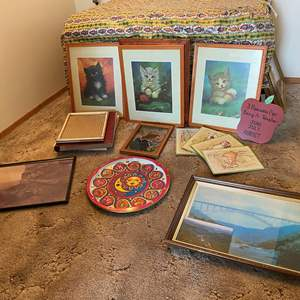 Auction Thumbnail for: Lot # 69 - Framed Cat Prints, Picture Frames, Albums, Mt. St. Helens Photo, & More