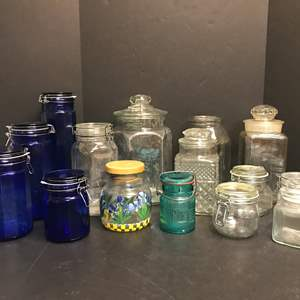 Lot # 59 - Lot of Glass Canisters of Various Sizes