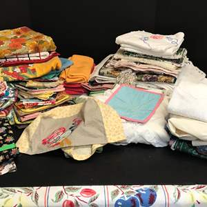 Lot # 65 - Lot of Handmade Doilies, Table Runners & Table Clothes