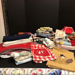 Lot # 66 - Lot of Table Clothes, Dish Towels, Cloth Napkins (Some Handmade)