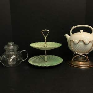 Lot # 69 - Awesome Tip-Pot, Glass Tea Pot & Snack Dish
