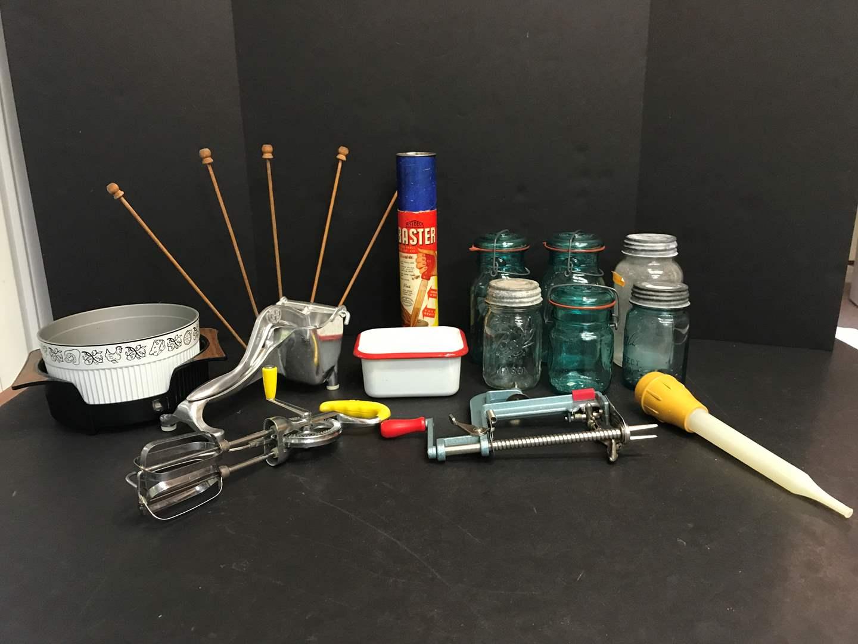 Lot # 70 - Ball Jars, Cute Enamel Tin, Apple Peeler & Ziploc Drying Rack (main image)
