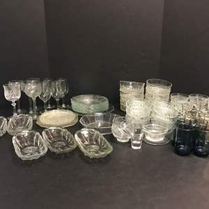Lot # 71 - Lot of Crystal Glass Bowls, Plates, Stemware & More
