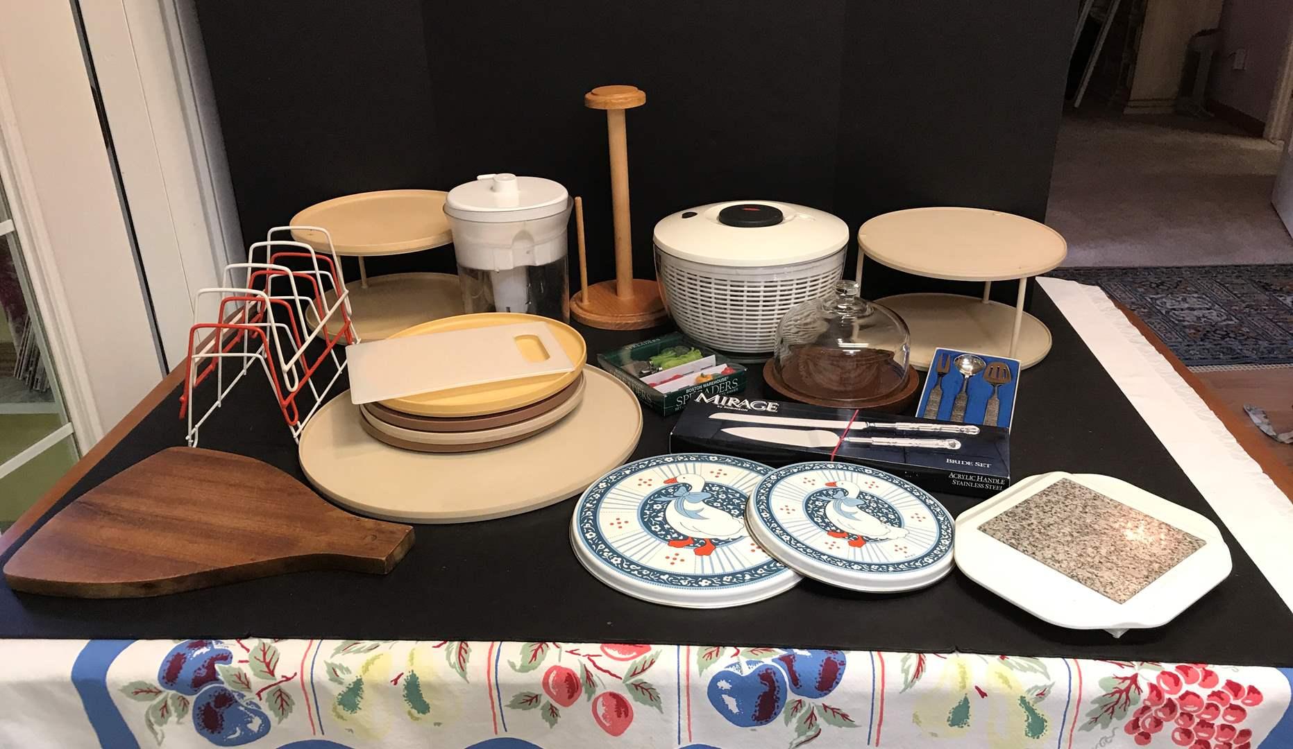 Lot # 72 - Lot of Lazy Susan's, Salad Spinner, Plate Racks & More (main image)