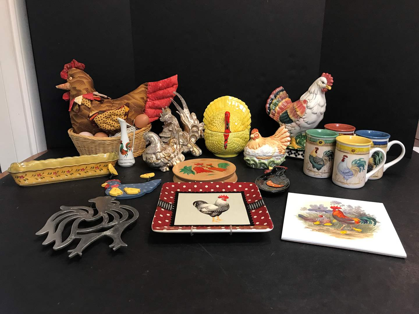 Lot # 75 - Lot of Rooster Decor: Mugs, Candy Dishes, Figurines, Tortilla Press & More (main image)