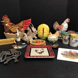 Lot # 75 - Lot of Rooster Decor: Mugs, Candy Dishes, Figurines, Tortilla Press & More