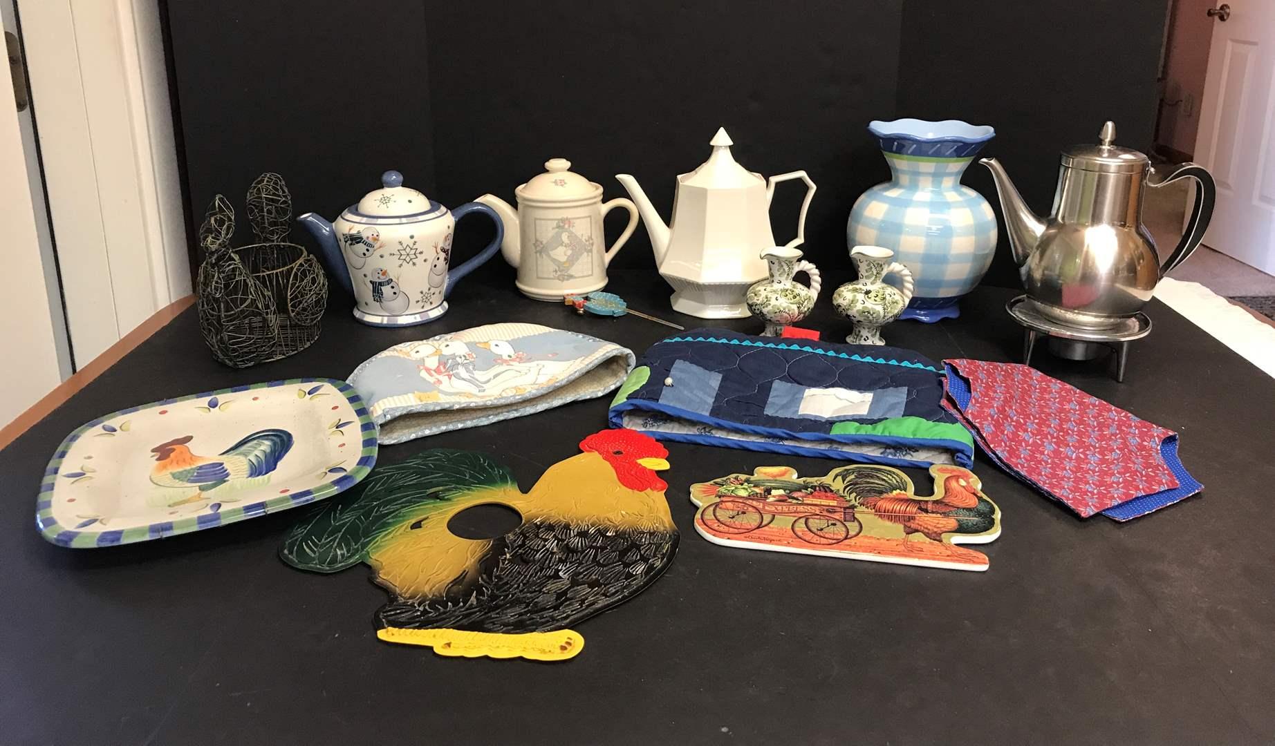 Lot # 80 - Tea Pots, Vase, Toaster Cover & More (main image)
