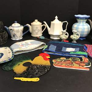 Lot # 80 - Tea Pots, Vase, Toaster Cover & More
