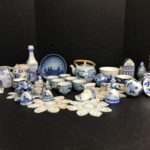 Lot # 81 - Beautiful Collection of Delfts Blue Items: Bells, Tea Pot, Windmill, Plates, Small Dishes & More