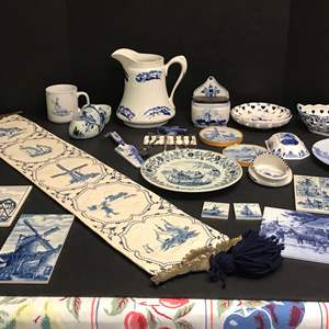 Lot # 82 - Collection of Delfts Blue Items: Hand Painted Wall Decor, Plates, Small Spoons & More