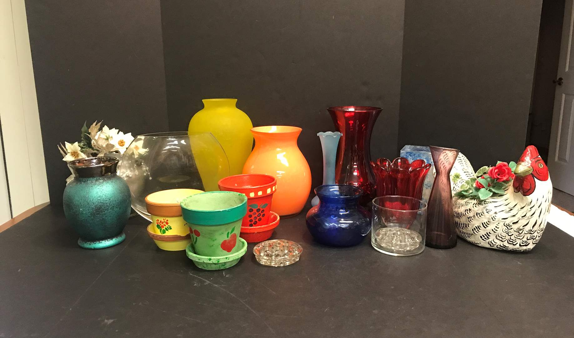Lot # 87 - Lot of Vases of Various Sizes & Flower Frogs  (main image)