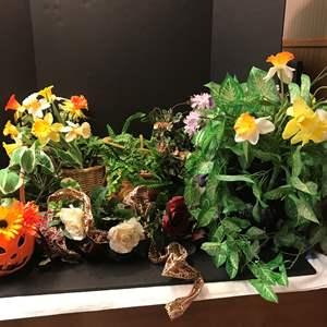 Lot # 141 - Lot of Faux Flower Arrangements