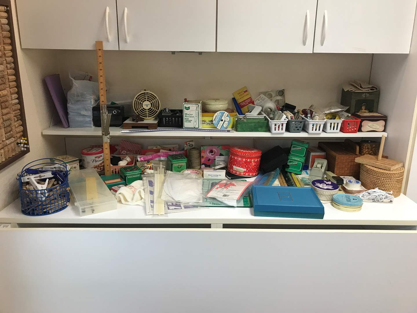 Lot # 145 - Lot of Sewing Implements: Scissors, Pins, Buttons, Threads, Binder Clips, Tapes & More (main image)