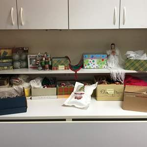 Lot # 148 - Small Lot of Christmas Decor, Handmade Ornaments, Some Fall Decor & More