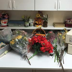 Lot # 149 - Lot of Faux Flowers & Sequined Fruit