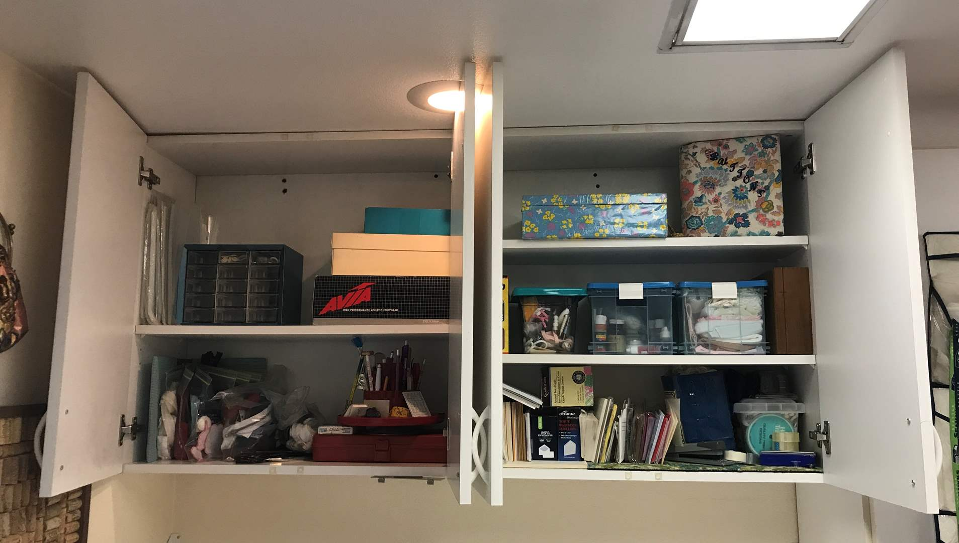 Lot # 155 - Shelves Full of Zippers, Buttons, Envelopes, Fabric Clippings, Thread, Finishing's & More (main image)