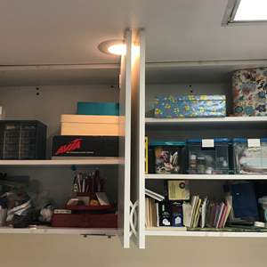 Lot # 155 - Shelves Full of Zippers, Buttons, Envelopes, Fabric Clippings, Thread, Finishing's & More