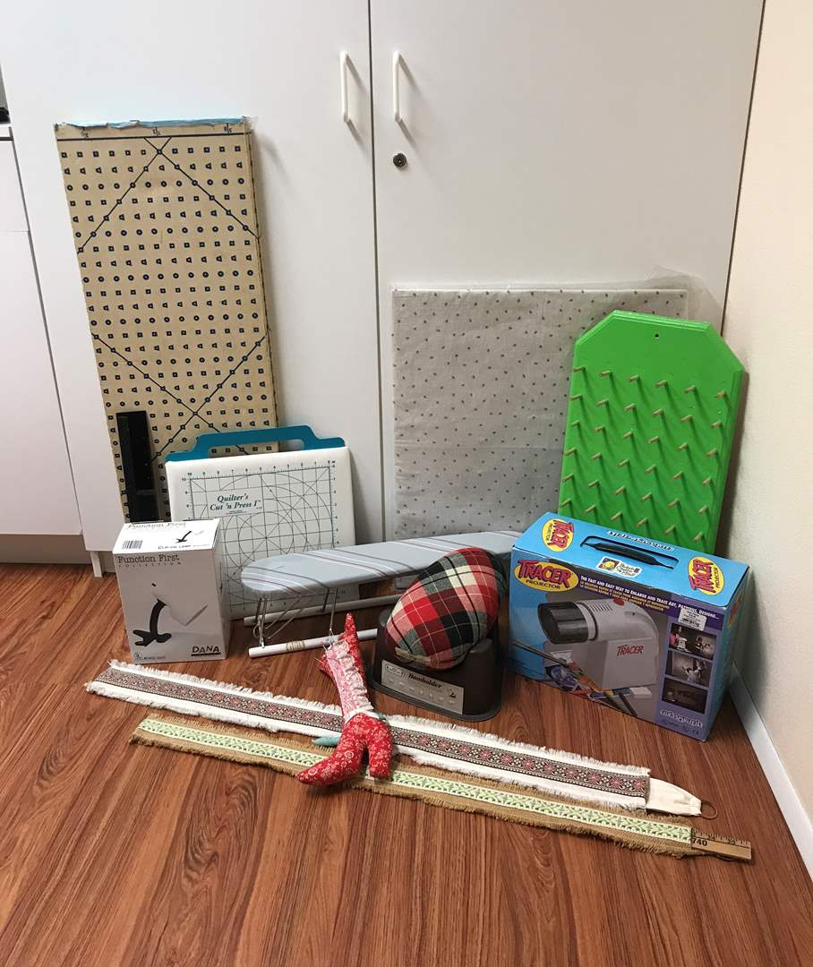 Lot # 204 - Tracer Projector, Yard Sticks, Fabric Measuring Board, Small Ironing Board & More (main image)