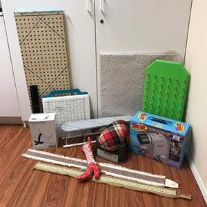 Lot # 204 - Tracer Projector, Yard Sticks, Fabric Measuring Board, Small Ironing Board & More