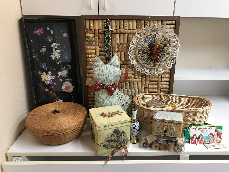 Lot # 206 - Handmade Cork Board, Ribbon & Button Art, Basket & More (main image)