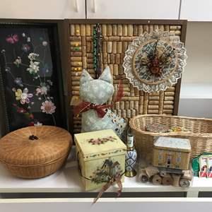 Lot # 206 - Handmade Cork Board, Ribbon & Button Art, Basket & More
