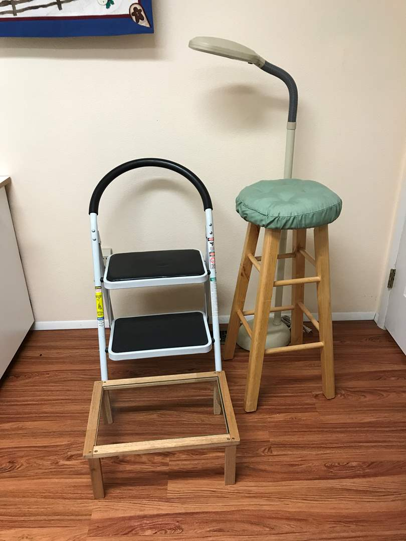 Lot # 229 - Barstool, Adjustable Lamp, Step Stool & More (main image)