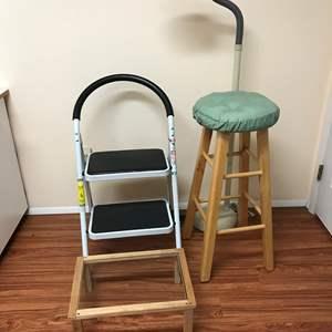 Lot # 229 - Barstool, Adjustable Lamp, Step Stool & More