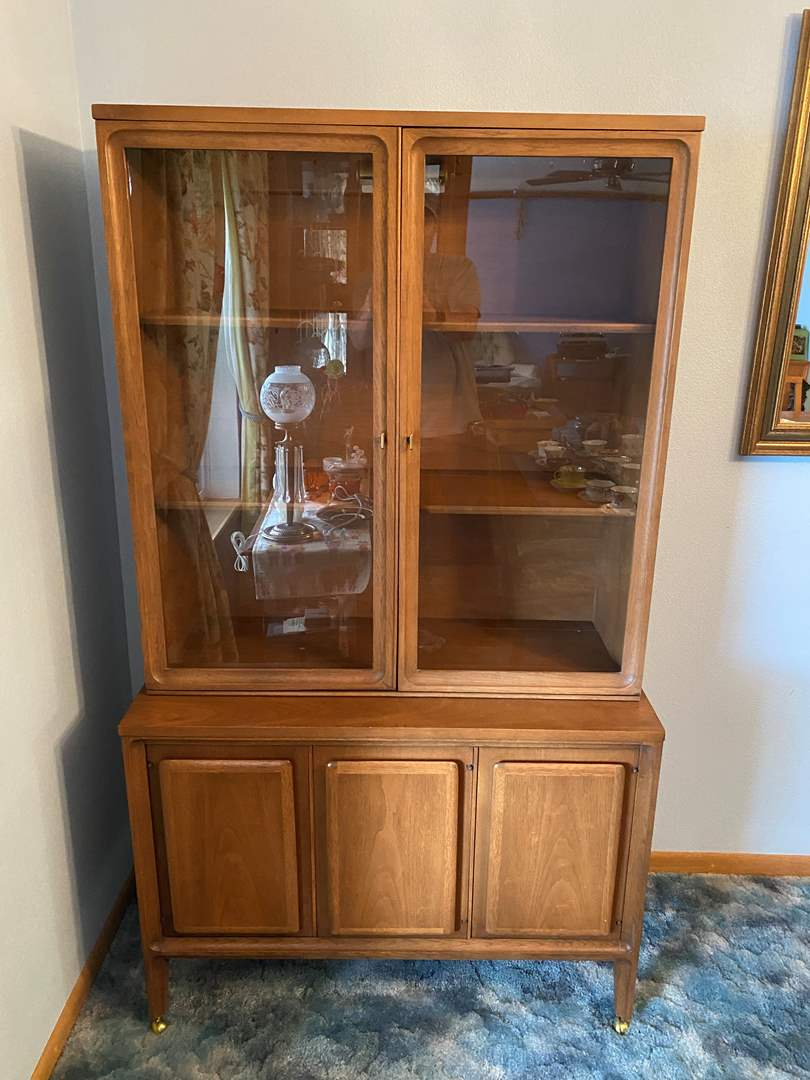 """Lot # 2 - Mid-Century """"Forward '70 by Broyhill Premier"""" Petite Two Piece China Hutch. (main image)"""