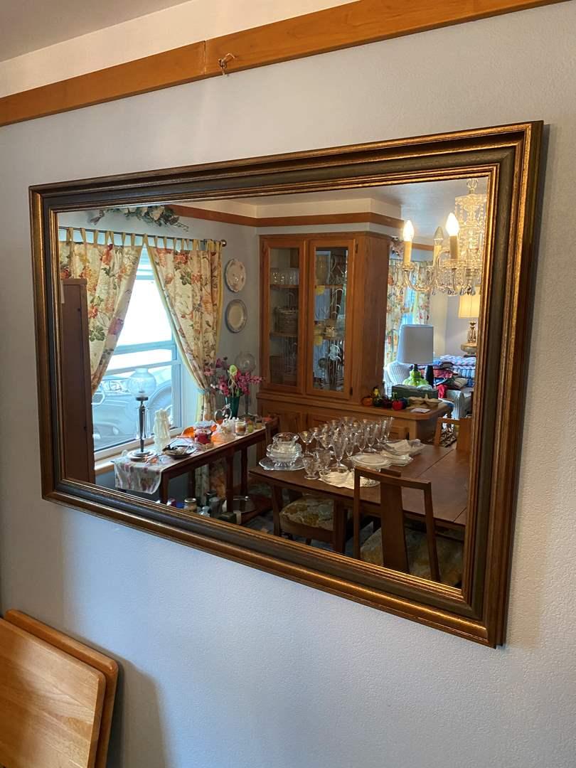 Lot # 5 - Large Vintage Wood Framed Mirror (main image)