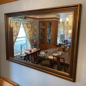 Lot # 5 - Large Vintage Wood Framed Mirror