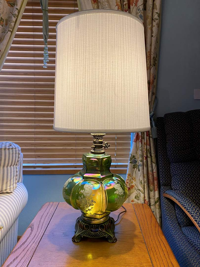 """Lot # 10 - Beautiful Vintage Green Iridescent Glass Table Lamp - (Works - 29.5"""" w/ Shade) (main image)"""