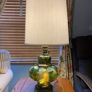 """Lot # 10 - Beautiful Vintage Green Iridescent Glass Table Lamp - (Works - 29.5"""" w/ Shade)"""