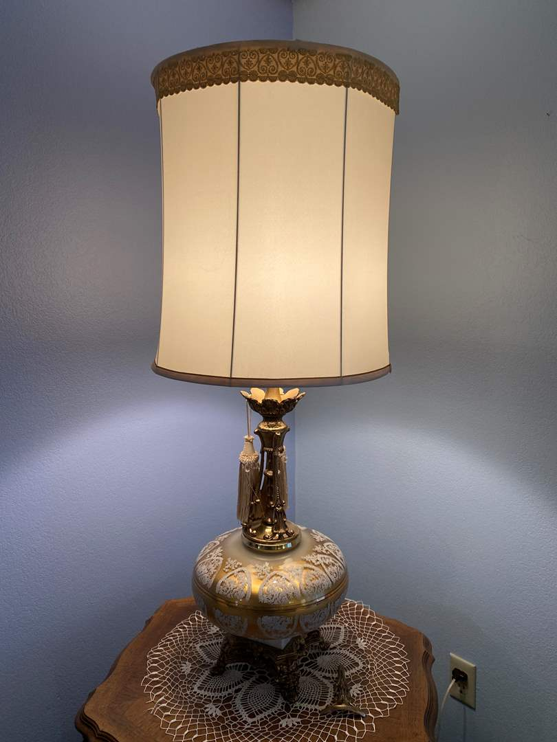 """Lot # 14 - Beautiful Vintage Large Gold Toned Glass Table Lamp - (Works - 42""""tall w/ Shade) (main image)"""