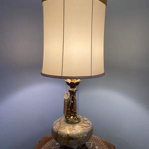 """Lot # 14 - Beautiful Vintage Large Gold Toned Glass Table Lamp - (Works - 42""""tall w/ Shade)"""
