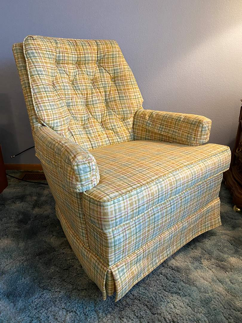 """Lot # 16 - Vintage Swiveling/Rocking Armchair Tagged """"Sligar Upholstery"""" (main image)"""