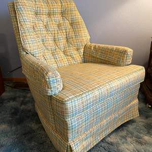 """Lot # 16 - Vintage Swiveling/Rocking Armchair Tagged """"Sligar Upholstery"""""""